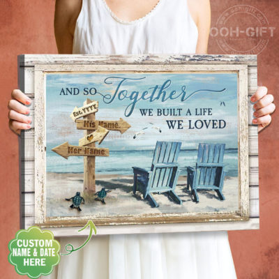 best selling custom canvas from ooh gift, and so together we built a life we loved personalized canvas wall art prints